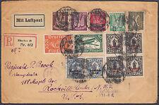 33) DR R- Brief von München n New York seltene Vignette Porto 15,25 RM 31.7.1922