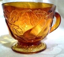 Vintage Glass Cup Avacodo Sweet Pear Amber footed