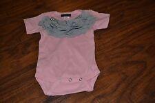 I4- New w/o Tags MyLOLLIFLOPS Pink w/ Gray Beads/Ruffles One Piece Size 0-3 M