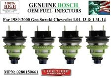 Set/4 NEW Fuel Injectors OEM Bosch *1989-1997 Geo Metro and Suzuki Swift 1.3L I4