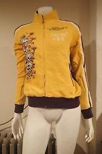 NWT Ed Hardy Womens Hoodie Tiger & Flames Purple & Yellow Size XS FREE GIFT LOOK