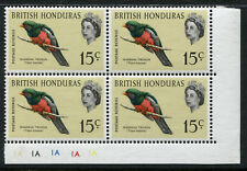 1962 British Honduras.  15c Slaty-tailed Trogon.  Corner block of 4 MUH. SG 170.