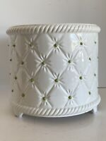 "White Cachepot Jardiniere Planter faux tufts w/green buttons 6.5"" x 7.75"" Italy"