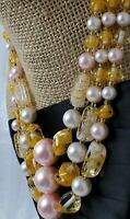 Vintage Japan Made Chunky Orange Art Glass Pink Faux Pearl Three Strand Necklace
