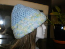Hand made crochet, unique baby blue w/soft  green/blue brim, warm snow bunny hat