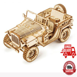 Wood Trick Army Jeep Model Mechanical Wooden 3D Puzzle Self Assembly Kit Set