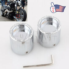 Chrome Deep Edge Cut Front Axle Cover Cap Nut For Harley Sportster XL1200 883 US