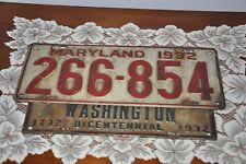 VTG 1932 Washington DC 200 Year Bicentennial license plate topper MD 1932 Plate