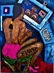 ORIGINAL Large BLACK FOLK ART PAINTING Outsider WEBCAM HOOCHY MAMA by EBONOIR