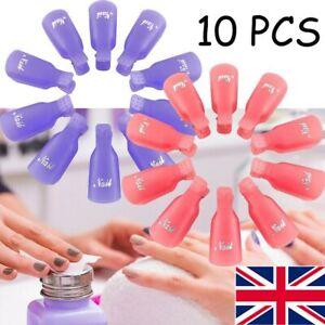10PCS Plastic Nail Art Soak Off Cap Clip UV Gel Polish Remover Wrap Tool Set UK