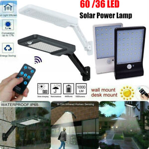 60/48/36 LED Solar Street Wall Light PIR Motion Sensor Outdoor Lamp + Remote US
