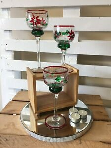 Poinsettia Painted Crackle Glass Candle Holder Trio Christmas Decor