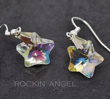 Clear Rainbow Crystal Star Drop Earrings, Lovely ladies / girls gift in gift bag