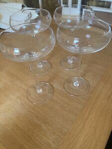 4 Champagne Saucers, Handmade LSA International