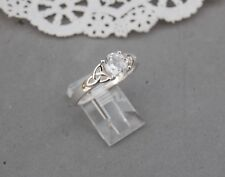 Celtic Knot Ireland Made Sterling Silver Ring Clear Quartz Faceted Gem 11 1/4