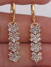 """18K Yellow Gold Filled 1.4"""" Earrings Zircon Topaz Floral Stripe Drop Chain Girl"""