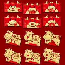 6PCS/Set Red Envelopes Angpau New Year Of the Ox Cartoon Paper Gifts Bag 2021