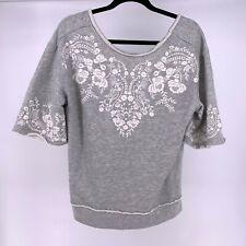 Maurices Womens Sz Small Gray 1/2 Sleeve Boat Neck Floral Pullover Sweatshirt