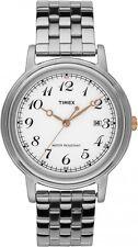 Timex Classico Bianco Facile Lettura Quadrante Bracciale in acciaio inox T2N672 Orologio Uomo