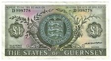 Guernsey 1 Pound Nd (1969-1975) P45b Circulated Arms, castle