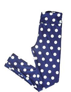 LuLaRoe One size O/S Leggings Navy Blue W/White Polka Dots! NWT