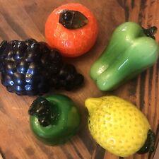 5 Piece Glass Fruit, Orange, Grapes, Lemon, Pear, Bell Pepper, Murano Style