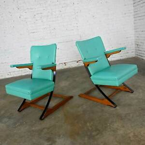 MCM Turquoise Vinyl Faux Leather Spring Rockers Style of McKay and Rock-A-Chair