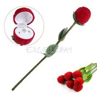 Red Rose Engagement Wedding Ring Earrings Jewelry Case Gift Rose Box New