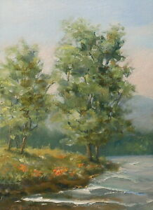 Poppy Point 5x7 original oil painting by Celene Farris Maine. Ocean flowers tree