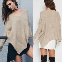 Women Long Sleeve Casual Knitwear Pullover Sweater Jumper Asymmetric Hem Zipper