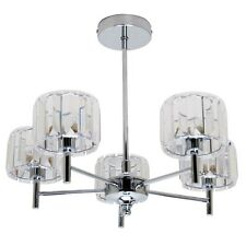 Modern Chrome 5 Light Ceiling Chandelier Pendant Acrylic Jewels Bedroom Lounge