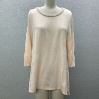 By Chico's Tee Tunic Top Blouse Women's Small Knit Light Peach 3/4 Sleeve Casual