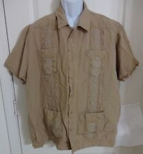 Cubavera Men's Cigar Shirt Button Down Short Sleeve Size  XL Tan