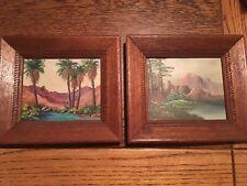 2 Minnie Wonsmos original oils desert mountain lake folk art northwest artist
