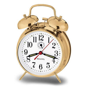 Bulova Bellman Analog Polished Brass Mechanical Bell Alarm Clock B8124