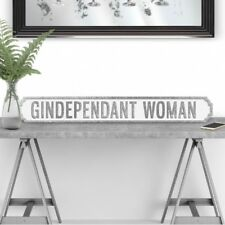 Gindependant Woman - White & Silver Glitter Vintage Road Street Sign Gin Lover