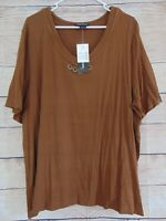 Maggie Barnes Women's Size 1X Brown V-neck Jeweled Neck New Pullover Shirt Top