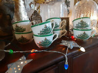 SPODE CHRISTMAS TREE CUPS TEA CUPS PUNCH CUPS ENGLAND ca. 1959 S3224C S3224 (8)