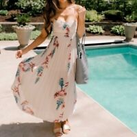 190848 New Intimately Free People Beau Smocked Printed Slip Floral Maxi Dress S