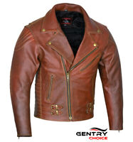 Modern Brando Style Leather Jacket Tan Brown Motorcycle Riding Touring Armored
