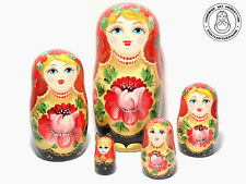 """Floral Nesting Doll 6.25""""/16 cm, Matryoshka, Babushka Doll 5 pcs"""