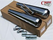 Mufflers British Cafe Racer Commando OPEN reverse cone exhausts chrome