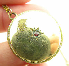 "Antique Vintage Gold Filled Photo Locket Red Stone Pendant 18"" Necklace"