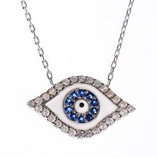 TURKISH GEMS JEWELLERY GOODLUCK CHARM EVIL EYE NAZAR PANDENT NECKLACE 925SILVER