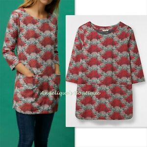 WHITE STUFF RED DUCK EGG BLUE FAN LEAF PRINT POCKET COTTON TUNIC TOP 8 - 18 NEW
