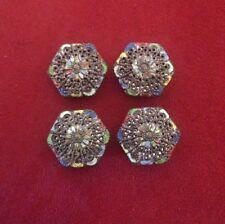 Antique Tibetan Metal Filigree Hexagon Shaped Buttons