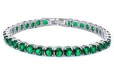 14.5CT Round Green Emerald .925 Sterling Silver Bracelet SBC1321-EM SO6-AFE
