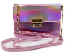 NEW LADIES GIRLS PINK CLUTCH HANDBAG METALLIC PURSE PARTY PROM BRIDAL SHOULDER