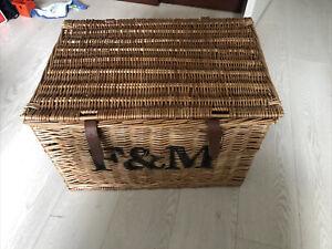 Empty Fortnum And Mason Wicker Hamper Basket Box