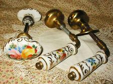 3 Antique 1920s Welch Porcelain Ceramic Door Knob Handles Gold Painted Flowers